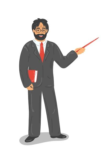 Insegnante in abito formale con puntatore della holding del libro Vettore Premium