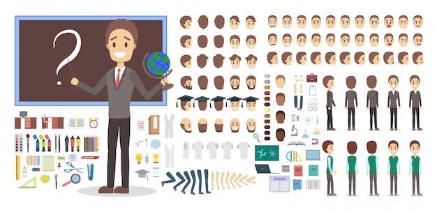 Insegnante personaggio maschile in set uniforme o kit per l'animazione con varie viste Vettore Premium