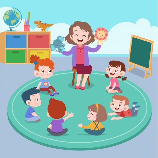 Insegnante e studente in classe Vettore Premium