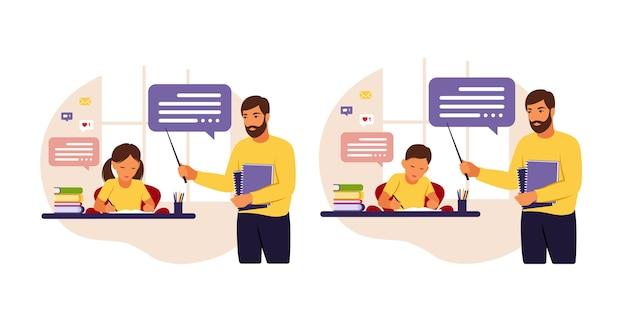 L'insegnante insegna ai bambini a casa oa scuola. illustrazione concettuale per la scuola, l'istruzione e l'istruzione domestica. insegnante che aiuta i bambini con i compiti. stile piatto Vettore Premium