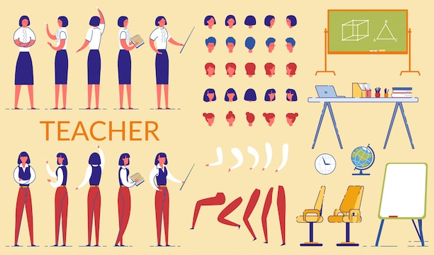 Insegnante woman constructor in abbigliamento formale. Vettore Premium