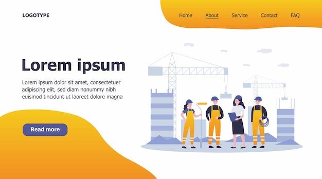 Team di costruttori in loco illustrazione Vettore Premium