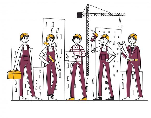 Team di costruttori che lavorano in cantiere Vettore Premium