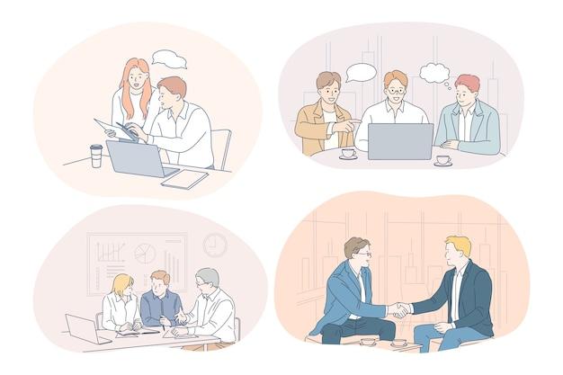 Lavoro di squadra, brainstorming, affari, trattative, affare, ufficio, concetto di collaborazione. Vettore Premium
