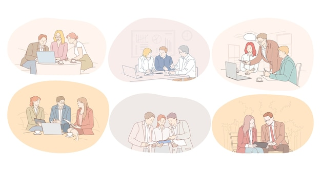 Lavoro di squadra, brainstorming, discussione, cooperazione, concetto di trattative. Vettore Premium