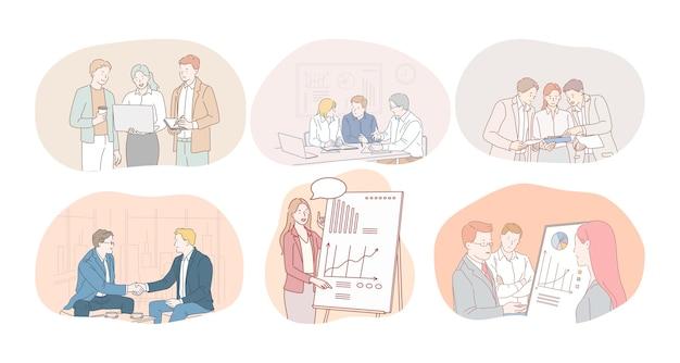 Lavoro di squadra, brainstorming, marketing, finanza, sviluppo, negoziazioni, concetto di accordo. Vettore Premium
