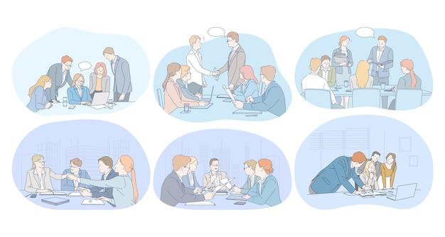 Lavoro di squadra, brainstorming, trattative, accordo, affare, concetto di presentazione. Vettore Premium