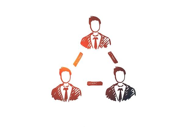 Lavoro di squadra, affari, persone, cooperazione, concetto di amicizia. schizzo di concetto di coworking insieme persone disegnate a mano. Vettore Premium
