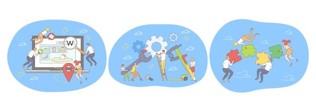 Lavoro di squadra collaborazione collaborazione realizzazione di successo del progetto Vettore Premium