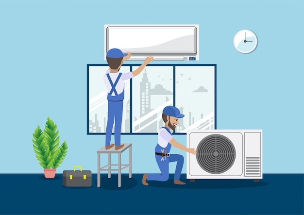 Concetto di lavoro di squadra con il personaggio dei cartoni animati del condizionatore d'aria spaccato di riparazione del tecnico Vettore Premium
