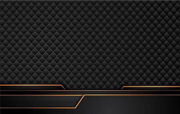 Sfondo nero tech con strisce giallo arancio a contrasto. Vettore Premium