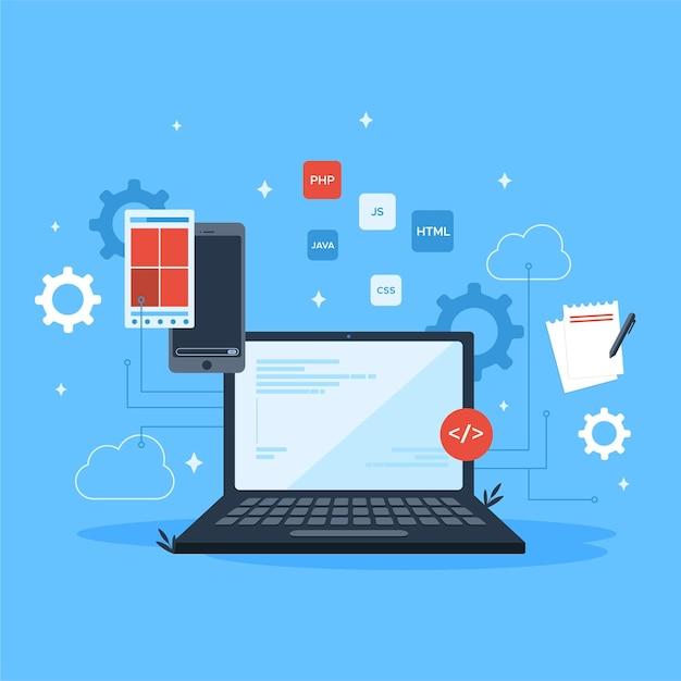 Sviluppo di app per laptop tecnologici Vettore Premium