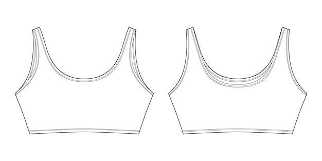 Schizzo tecnico del reggiseno per ragazze isolate. modello di disegno di biancheria intima di yoga Vettore Premium
