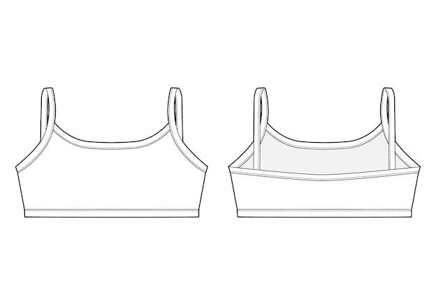 Reggiseno ragazza schizzo tecnico. modello di disegno superiore della biancheria intima femminile. Vettore Premium