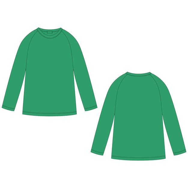 Schizzo tecnico di felpa raglan di colore verde. abbigliamento casual per bambini indossano il modello di progettazione del maglione. Vettore Premium