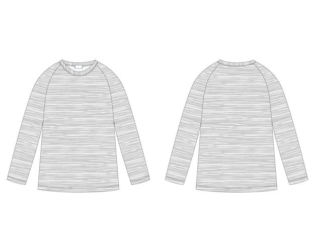 Schizzo tecnico di felpa raglan in tessuto melange. modello di disegno del maglione di abbigliamento per bambini. Vettore Premium