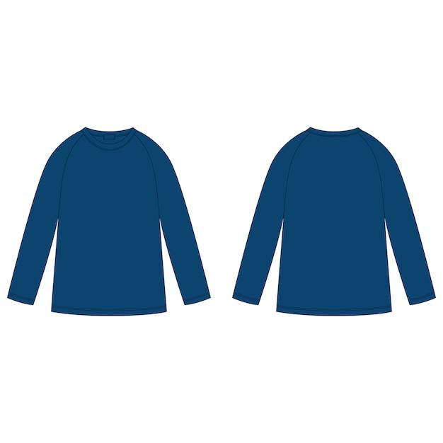 Felpa raglan di colore blu navy con disegno tecnico. modello di disegno del ponticello di usura dei bambini. vista anteriore e posteriore. Vettore Premium