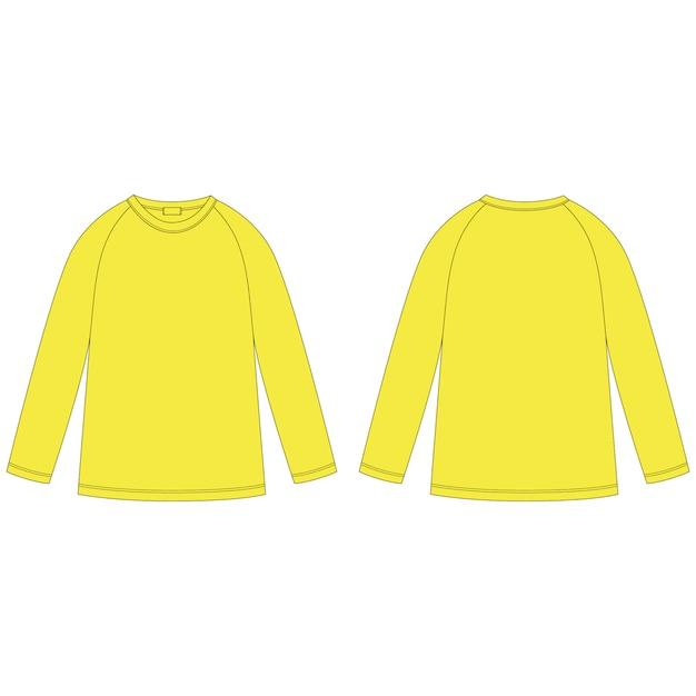 Disegno tecnico della felpa raglan gialla. modello struttura ponticello. abbigliamento casual per bambini. vista anteriore e posteriore. Vettore Premium