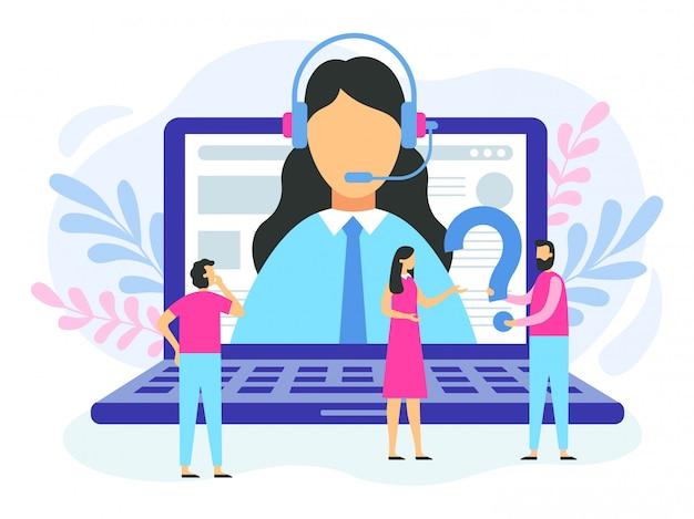 Supporto tecnico. operatore di hotline femminile, call center del servizio clienti e illustrazione di servizio di consulenza online Vettore Premium