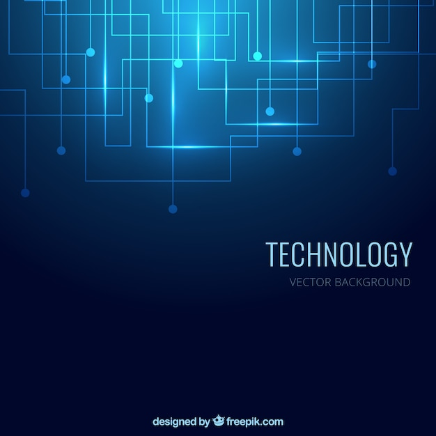 Tecnologia sfondo di colore blu Vettore Premium