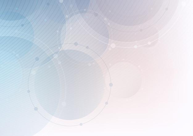 Sfondo di tecnologia con cerchi e linee Vettore Premium