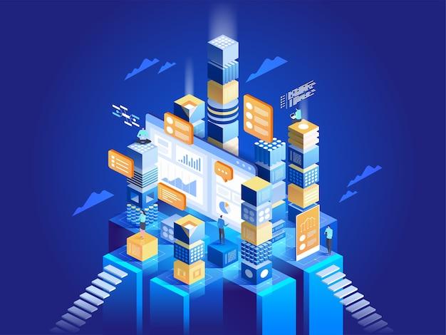 Concetto tecnologico di marketing digitale e sviluppo di app. persone che interagiscono con i grafici e analizzano le statistiche. visualizzazione dei dati. illustrazione isometrica. Vettore Premium