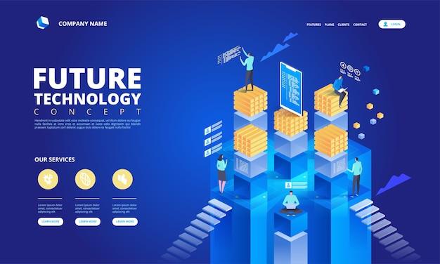 Concetto isometrico di tecnologia. illustrazione di alta tecnologia futura astratta Vettore Premium