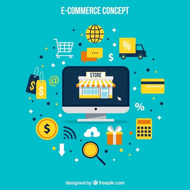 Tecnologia, shopping e icone Vettore Premium