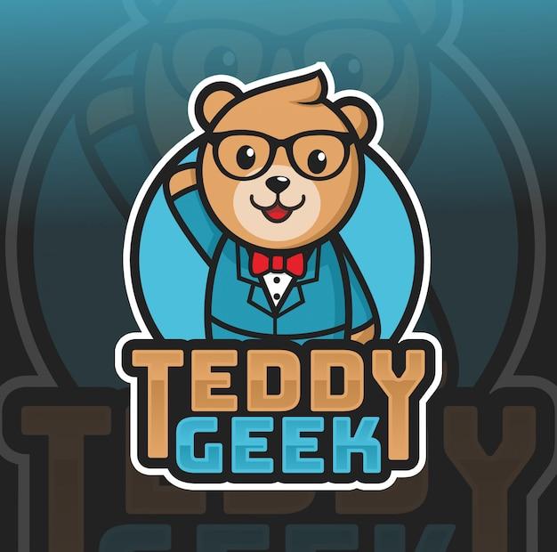 Teedy orso geek mascotte logo design Vettore Premium