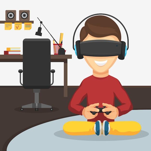 Ragazzo dell'adolescente con il gamepad del controller di gioco in occhiali per realtà virtuale e cuffie sullo sfondo del posto di lavoro. Vettore Premium