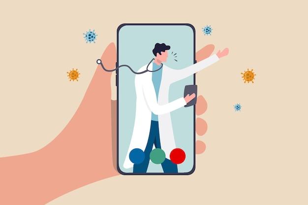 Il medico della tecnologia di assistenza sanitaria telehealth può diagnosticare e aiutare il paziente tramite il telefono cellulare o il concetto di teleconferenza, la mano del paziente trasporta l'applicazione mobile con il medico, il medico diagnostica il sintomo del virus. Vettore Premium