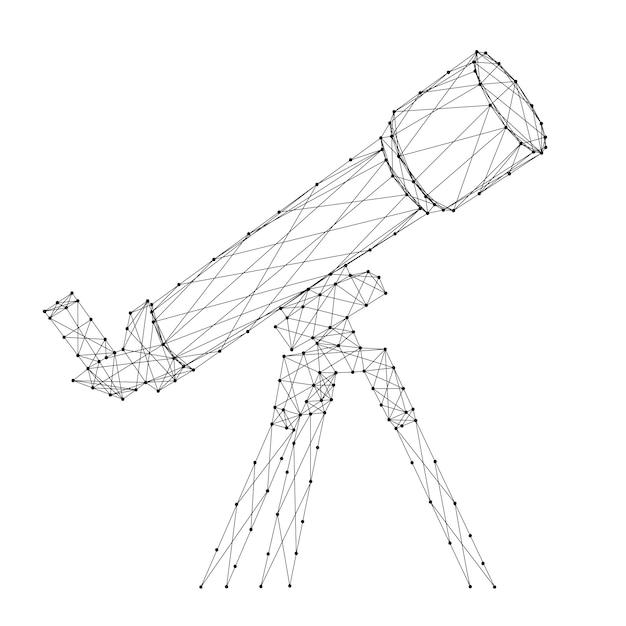 Telescopio da linee e punti neri poligonali futuristici astratti. Vettore Premium