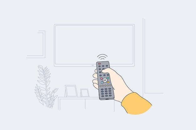 Televisione, concetto di intrattenimento domestico Vettore Premium