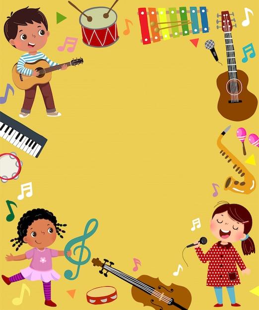 Modello per sfondo pubblicitario nel concetto di musica con tre musicisti di bambino. Vettore Premium