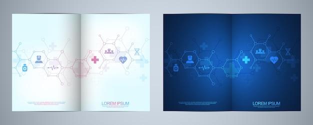 Brochure modello o copertina, libro, flyer, con simboli e icone mediche. concetto di tecnologia sanitaria, scienza e medicina. Vettore Premium