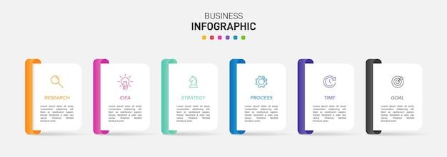 Modello per infografica aziendale. sei opzioni o passaggi con icone e testo. Vettore Premium