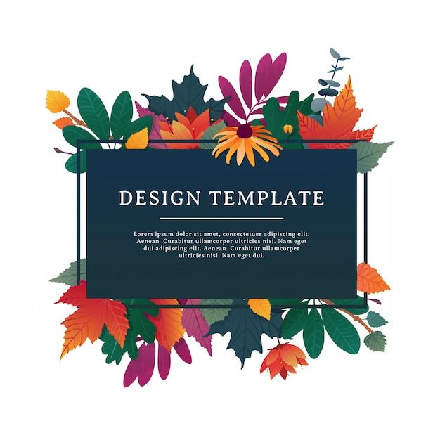 Banner di design modello per la stagione autunnale con cornice autunnale ed erba. Vettore Premium