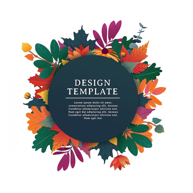 Banner rotondo di design modello per la stagione autunnale con cornice bianca ed erba Vettore Premium