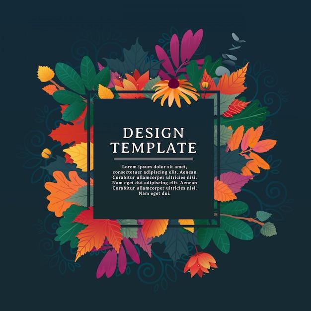 Banner quadrato design modello per la stagione autunnale con cornice bianca ed erba. Vettore Premium