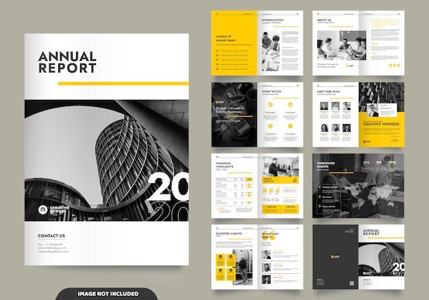 Progettazione del modello con frontespizio per profilo aziendale e brochure Vettore Premium