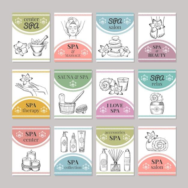 Modello di carte diverse per salone spa o centro cosmetico. carta di spa e salone di bellezza. illustrazione Vettore Premium