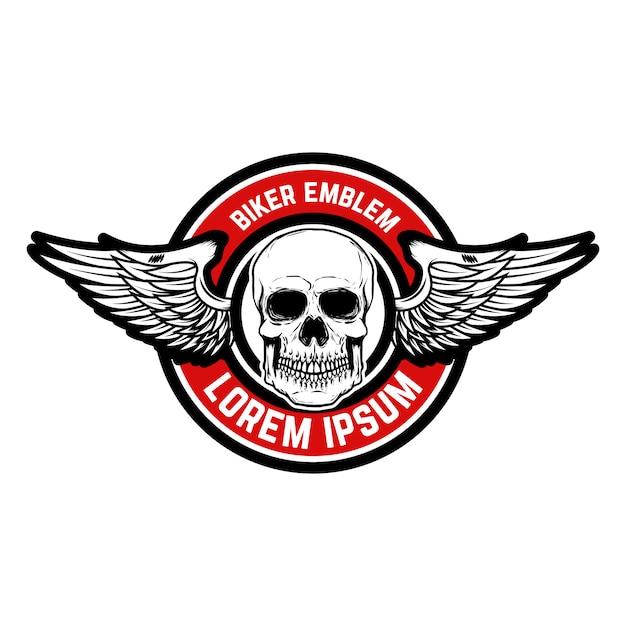 Modello dell'emblema del racer club. teschio con le ali. elemento per logo, etichetta, distintivo, segno. illustrazione Vettore Premium