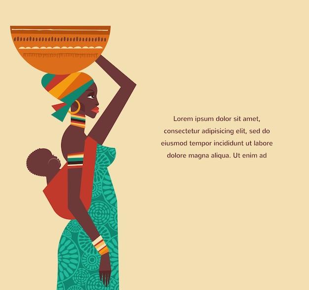 Modello e illustrazioni con donna e bambino africani Vettore Premium