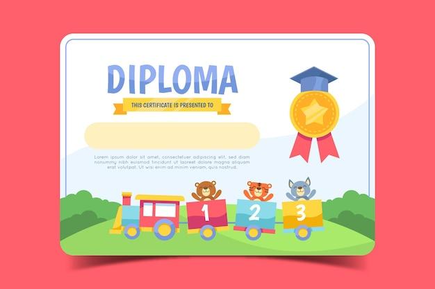 Modello per diploma per bambini Vettore Premium