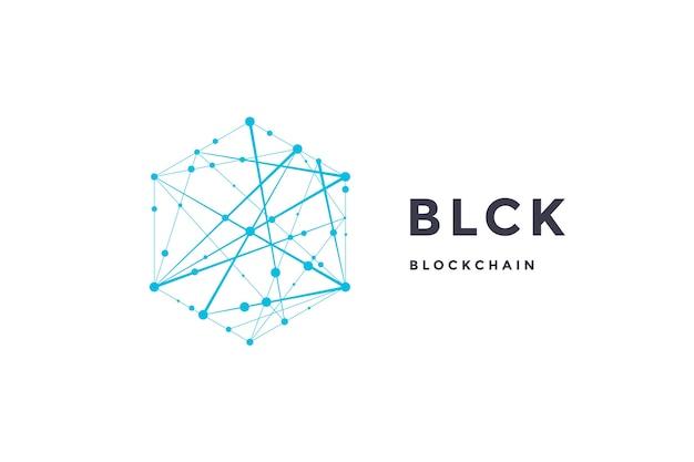 Etichetta modello per tecnologia blockchain Vettore Premium