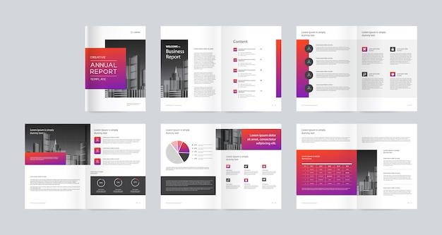 Progettazione del layout del modello con copertina per profilo aziendale e brochure Vettore Premium