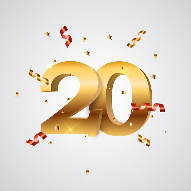 Modello logo years anniversary illustration Vettore Premium