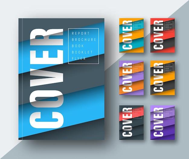 Modello di una copertina moderna con fogli galleggianti colorati diagonali nell'aria nel design dei materiali. Vettore Premium