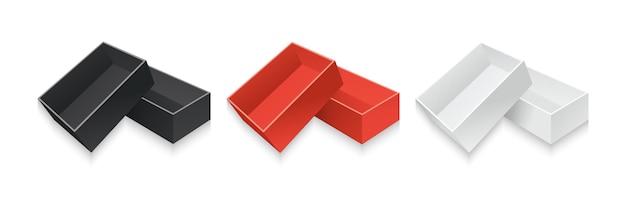 Set di scatole regalo in cartone realistico modello contenitore di raccolta di imballaggi di carta bianca, nera e rossa Vettore Premium