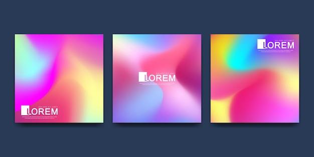 Modello in colori sfumati vibranti alla moda con forme fluide astratte. Vettore Premium